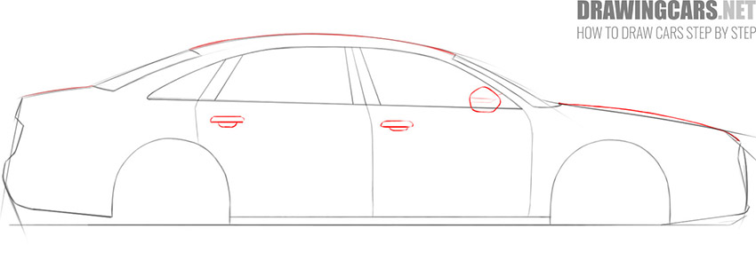 step 5 how to draw a car from the side
