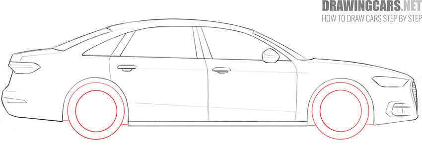 step 8 how to draw a car wheels