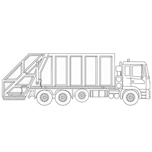 How to Draw a Garbage Truck