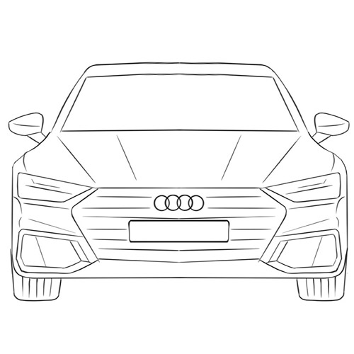 How to draw a Car from the Front for Beginners
