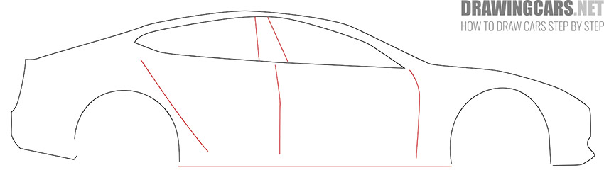 How to Draw a Tesla model S for Beginners instruction