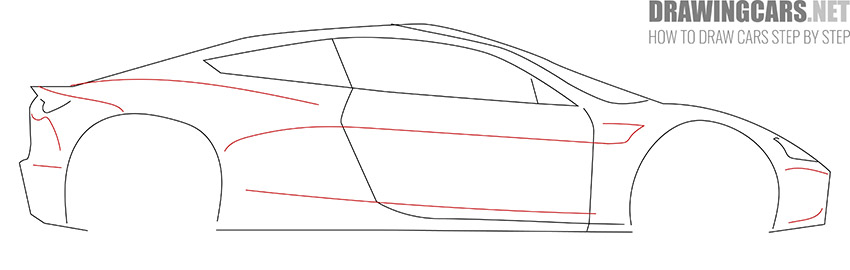 How to Draw a Tesla Roadster for Beginners drawing