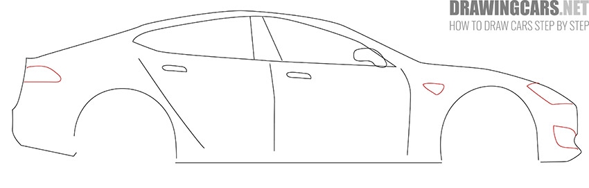 How to Draw a Tesla model S for Beginners lesson