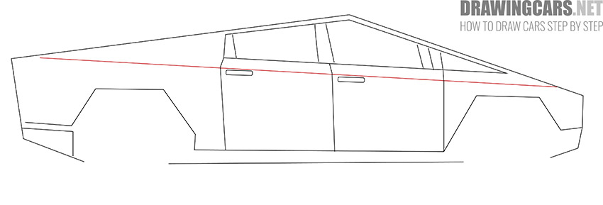 How to Draw a Tesla Cybertruck for Beginners tutorial