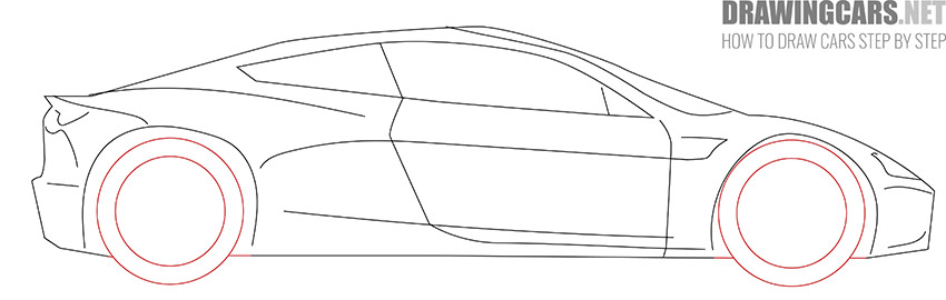 How to Draw a Tesla Roadster for Beginners simple