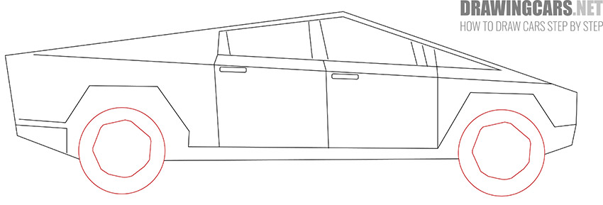 How to Draw a Tesla Cybertruck for Beginners simple