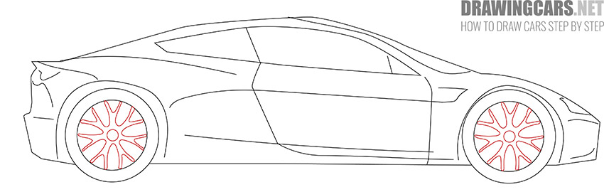 How to Draw a Tesla Roadster for Beginners easy