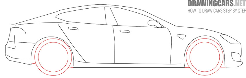 How to Draw a Tesla model S for Beginners simple