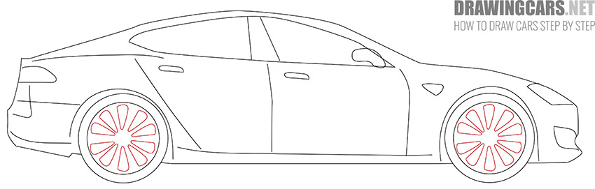 How to Draw a Tesla model S for Beginners easy