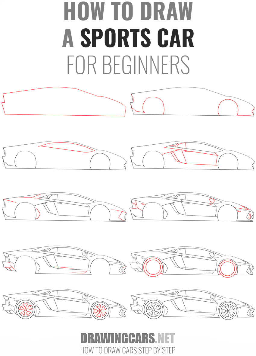 how to draw a SPORTS CAR beginners