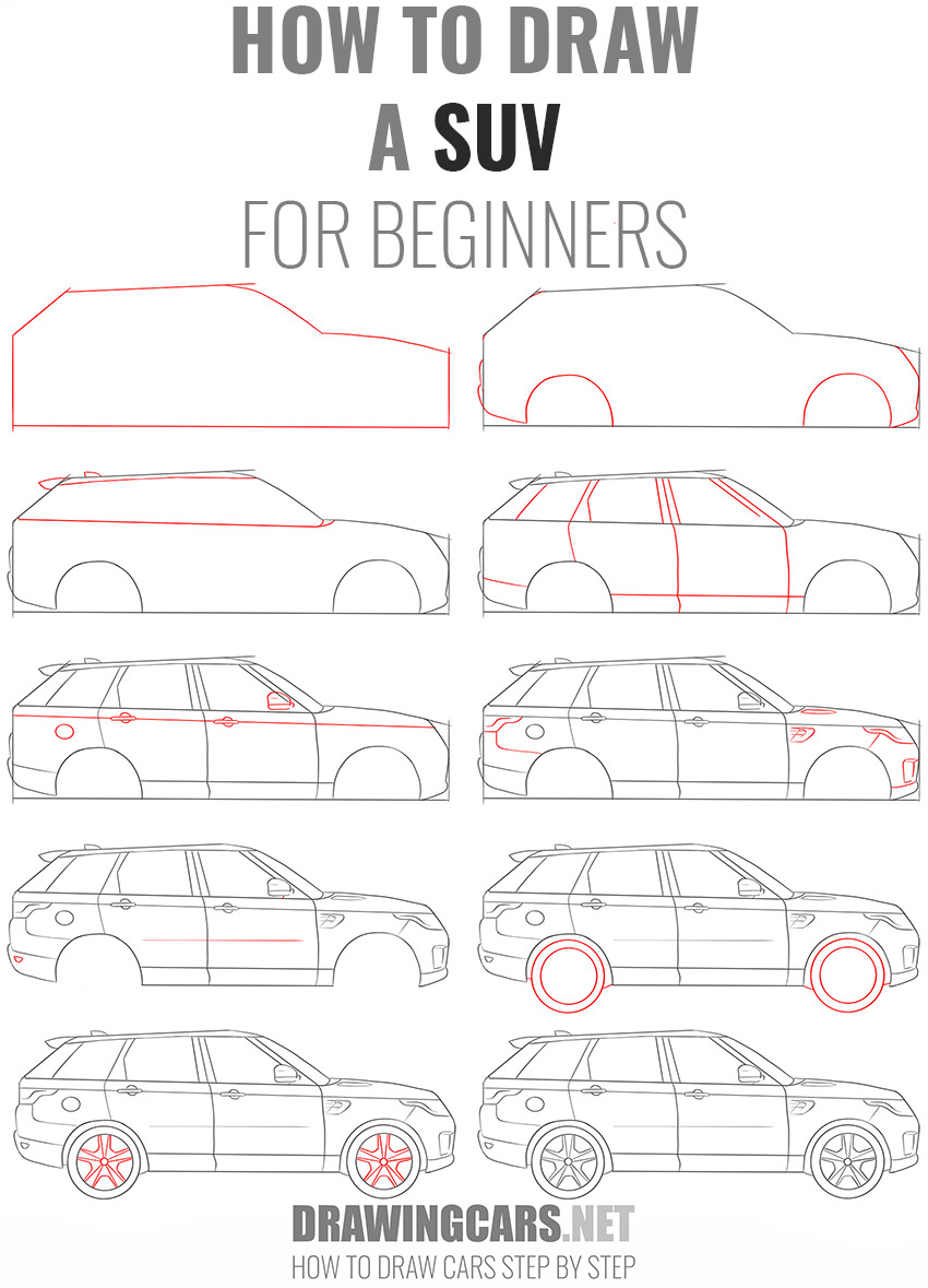 how to draw a SUV beginners
